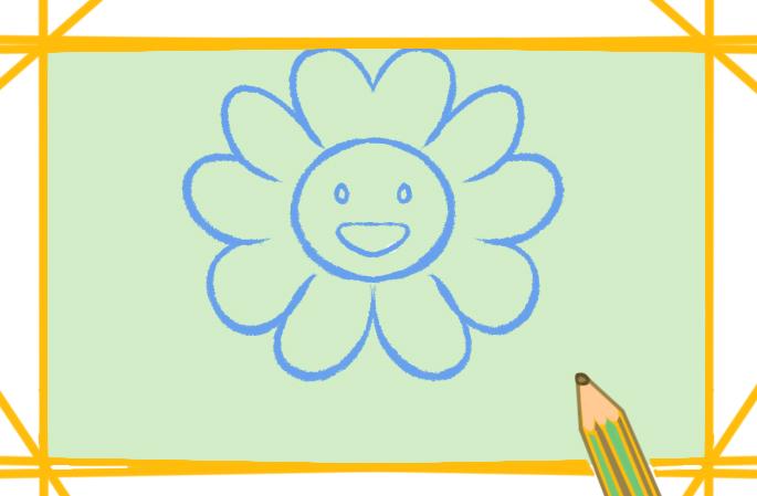 漂亮的七彩花简笔画图片怎么画