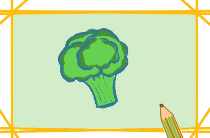 绿色的西蓝花上色简笔画要怎么画