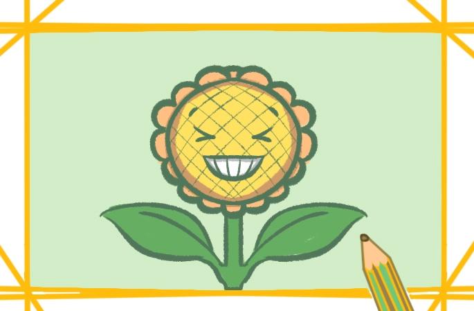 开心的向日葵笑脸简笔画图片怎么画