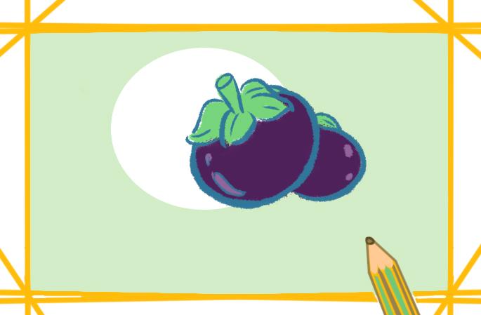 水果之山竹上色簡筆畫圖片教程步驟