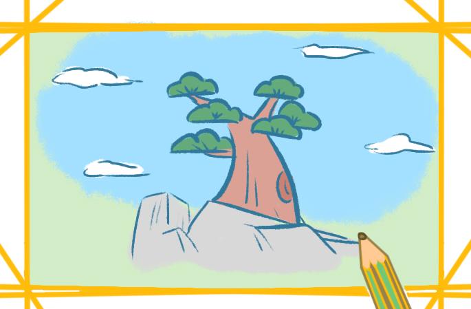 高山上的松树上色简笔画要怎么画
