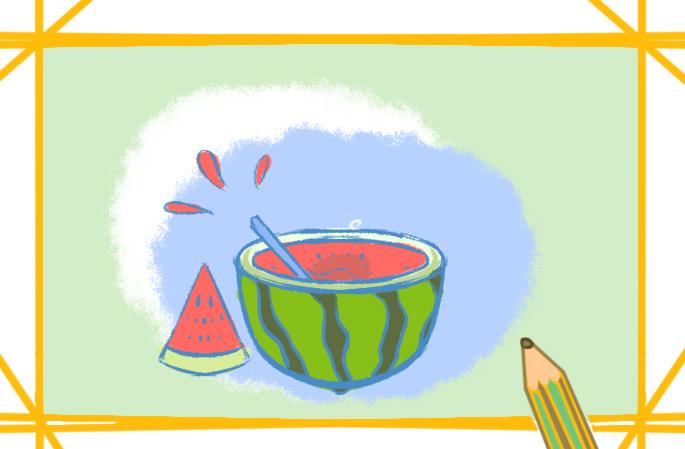 夏日大西瓜简笔画图片怎么画
