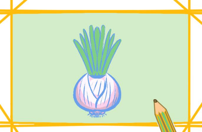淡色的洋葱上色简笔画要怎么画