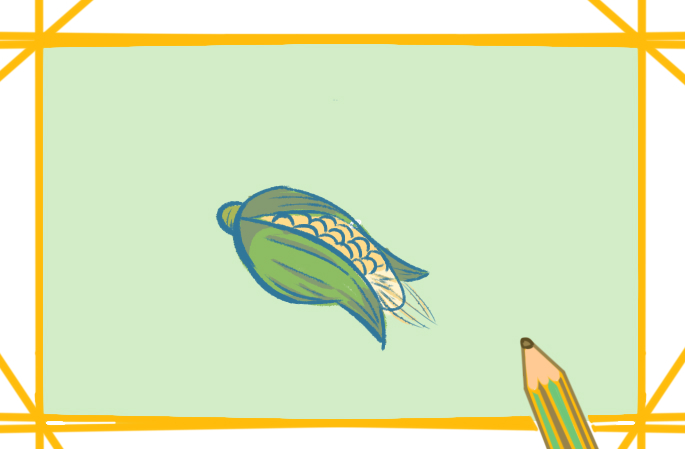 农作物玉米上色简笔画图片教程