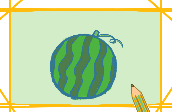 西瓜简笔画带颜色怎么画