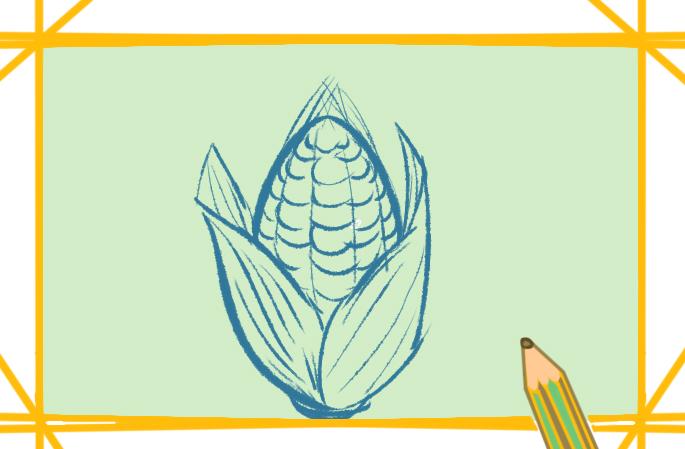 简单好看的玉米上色简笔画要怎么画