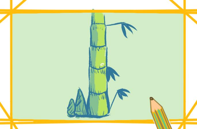 文雅的竹子上色简笔画要怎么画