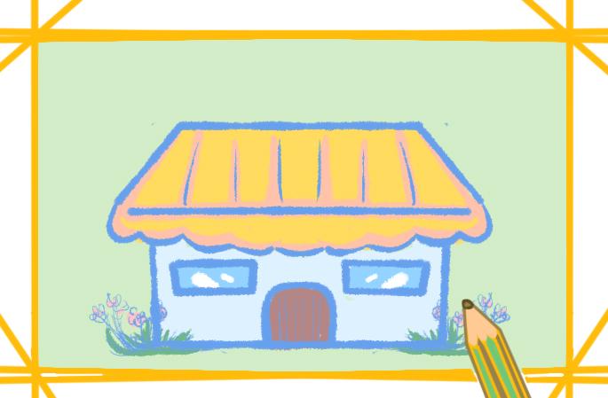 漂亮的花店上色簡筆畫圖片教程步驟