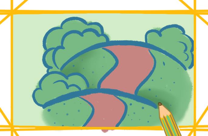 路边的草丛上色简笔画图片教程