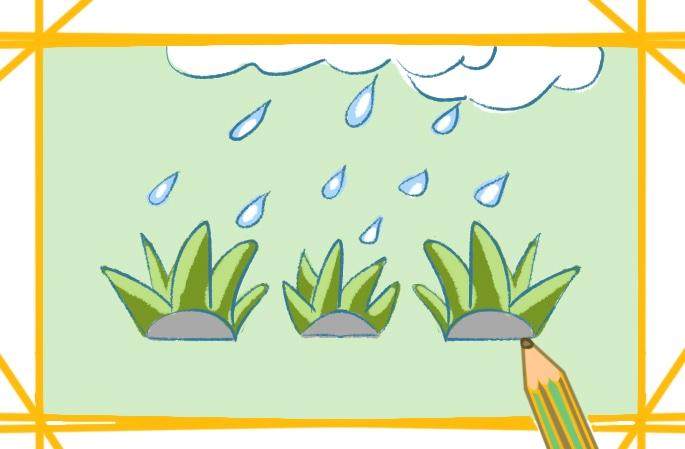 简单的下雨天简笔画图片怎么画