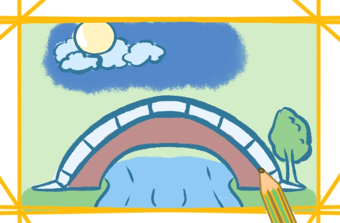 简单好看的拱桥简笔画图片怎么画