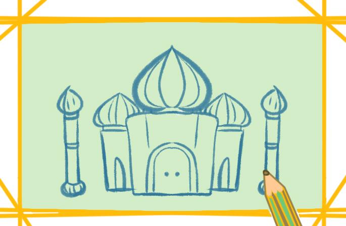 阿拉伯宫廷上色简笔画要怎么画