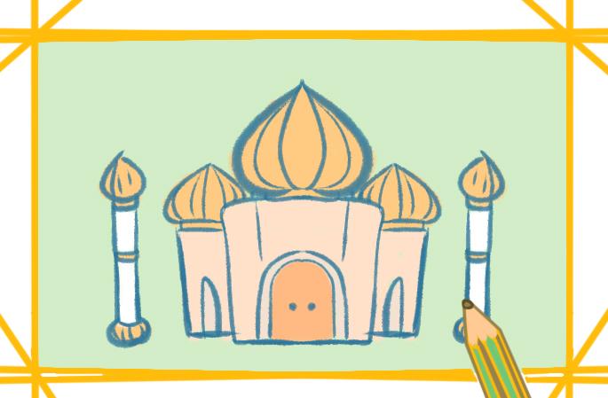 中東城堡建筑物上色簡筆畫要怎么畫