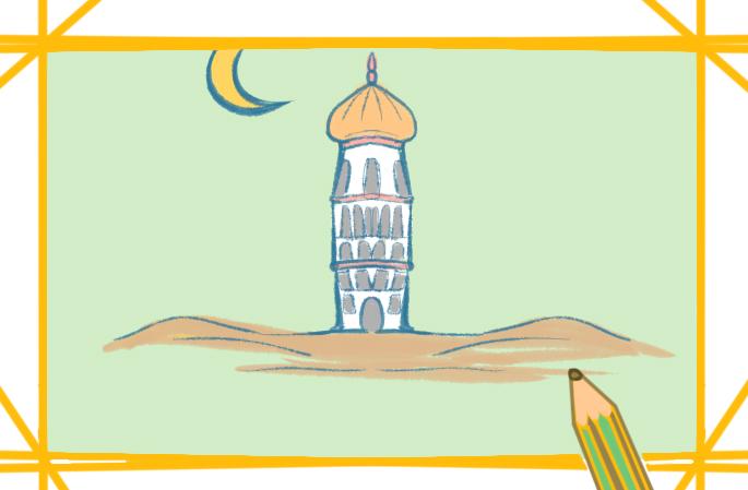中東建筑物上色簡筆畫圖片教程步驟