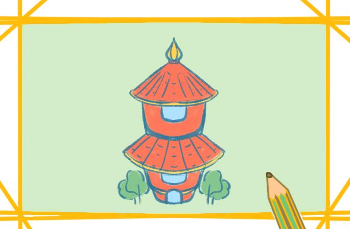 紅色高塔上色簡筆畫圖片教程