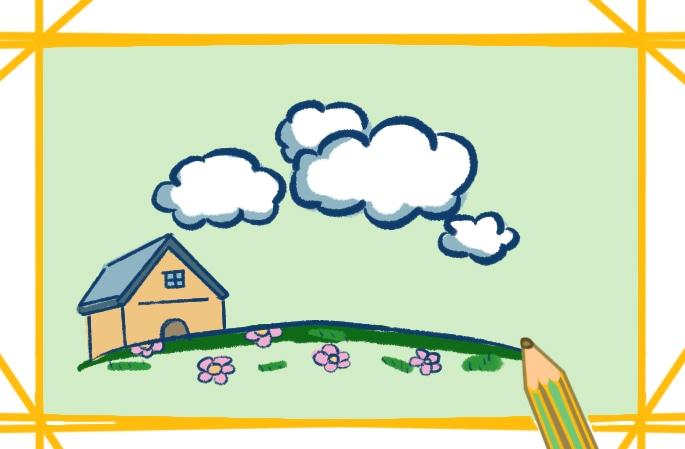 漂亮的小花園簡筆畫圖片怎么畫