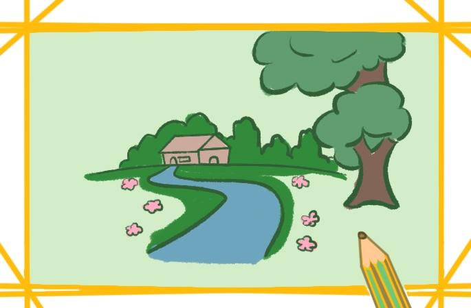 綠意盎然的景色簡筆畫圖片