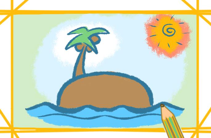 晴朗的椰子岛简笔画图片怎么画