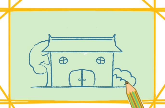 简单的土胚房上色简笔画图片教程步骤