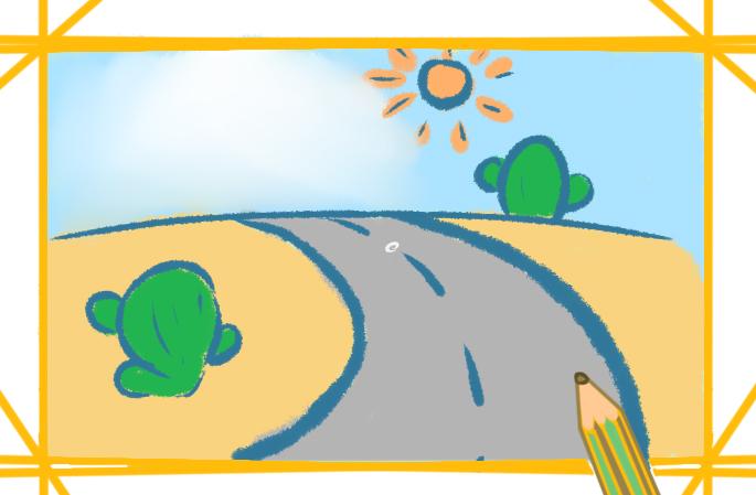 沙漠里的公路上色简笔画要怎么画