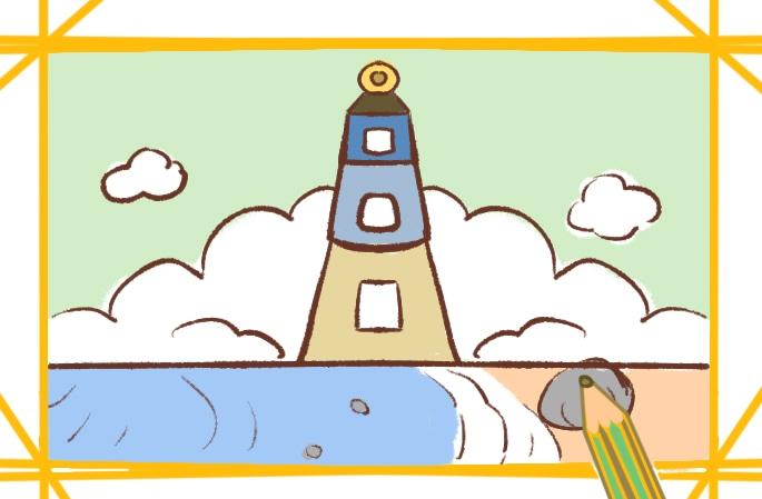 沙灘邊的美景簡筆畫圖片怎么畫