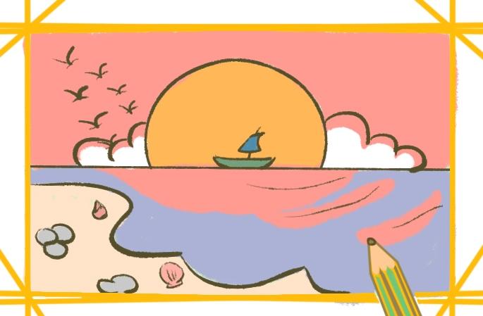 美麗的落日簡筆畫圖片怎么畫