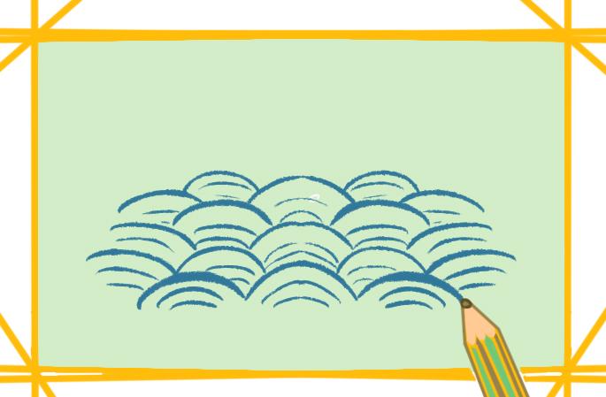 东洋风海浪上色简笔画图片教程步骤