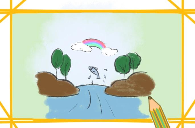 鄉下的溪流簡筆畫圖片教程