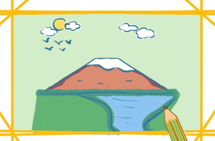 美丽的富士山简笔画图片怎么画