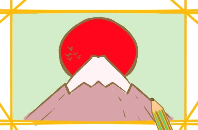 簡易的富士山簡筆畫圖片怎么畫