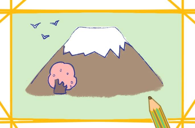 超簡單的富士山簡筆畫圖片怎么畫