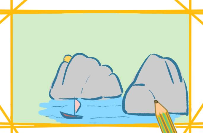 常见的山水上色简笔画图片教程