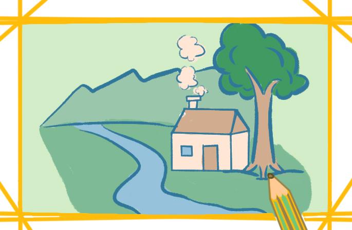 溪边的小屋简笔画图片大全教程