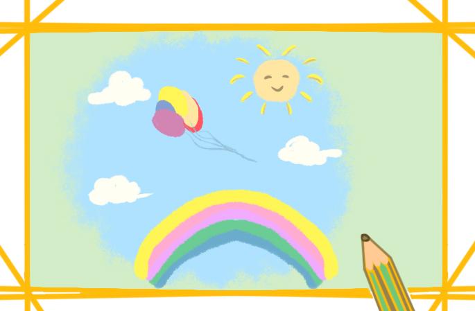 晴朗的天空上色简笔画图片教程