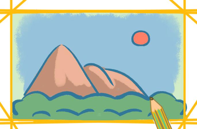 好看的山上色簡筆畫圖片教程