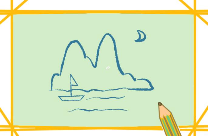 漂亮的河边景色简笔画图片怎么画
