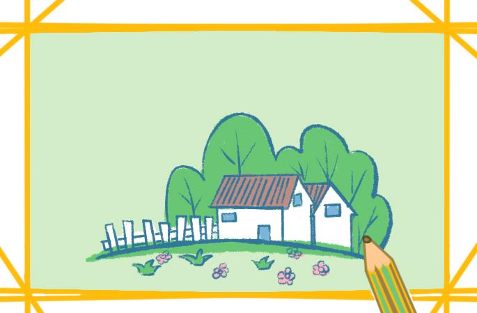綠色的家園簡筆畫的圖片怎么畫