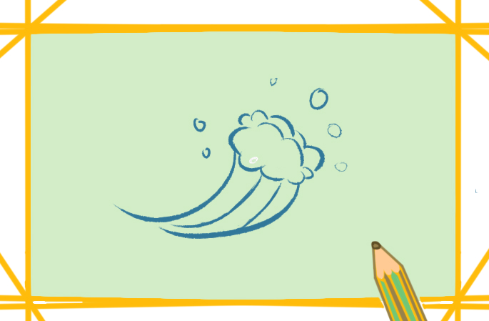 翻滾的海浪簡筆畫帶顏色的圖片怎么畫