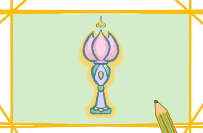 美丽的莲花灯上色简笔画要怎么画