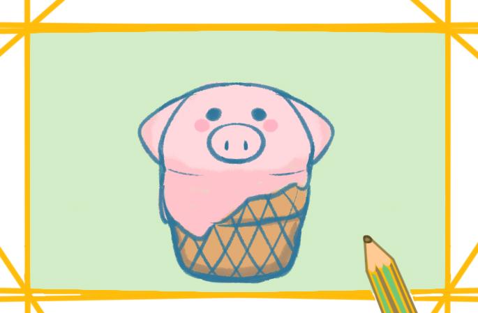 粉紅小豬上色簡筆畫圖片教程