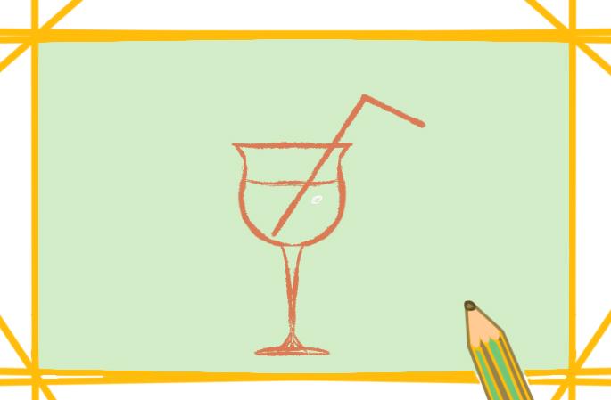 一杯好看的橙子汁简笔画要怎么画