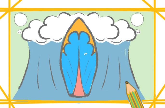 简单好看的冲浪板上色简笔画要怎么画