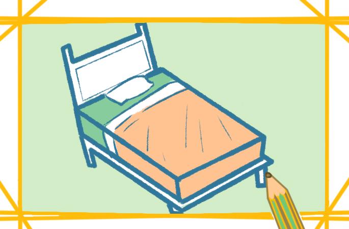 简单好看的大床上色简笔画要怎么画