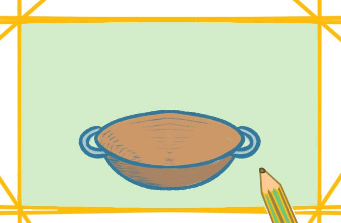 一口大铁锅上色简笔画要怎么画
