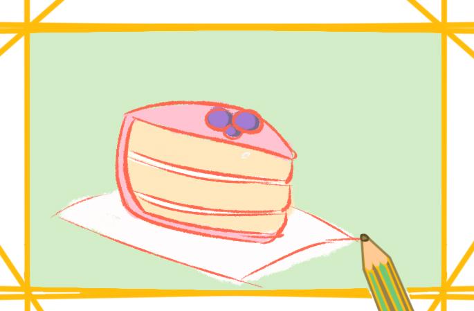 少女心蛋糕上色简笔画图片教程步骤