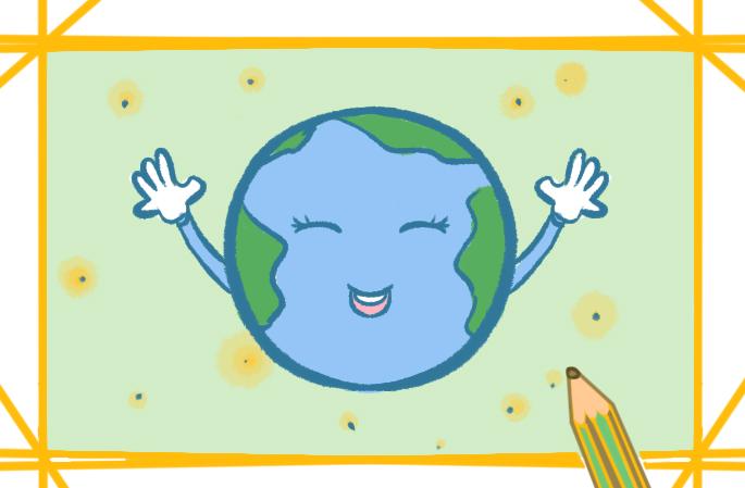 宇宙中的地球上色简笔画要怎么画
