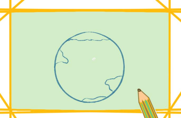 蓝色星球之地球上色简笔画图片教程