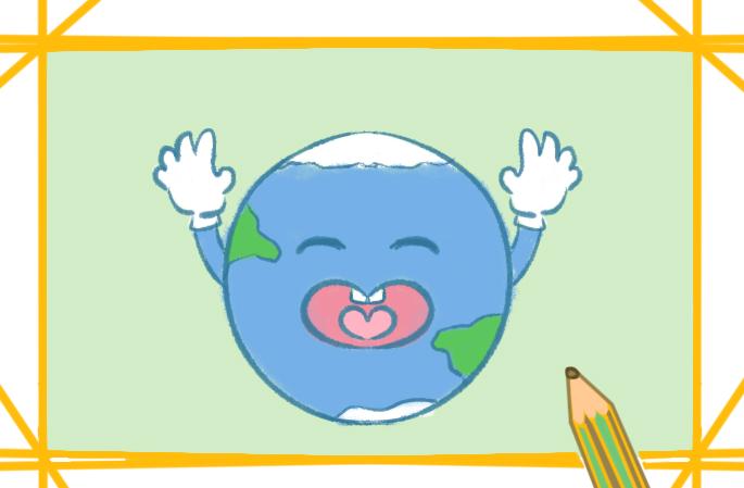 蓝色的地球上色简笔画要怎么画