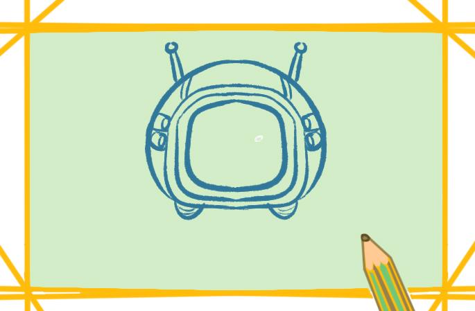 太空头盔上色简笔画图片教程步骤