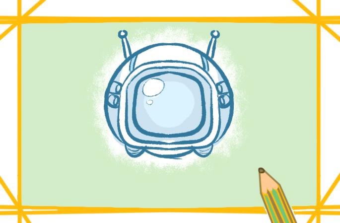 太空頭盔上色簡筆畫圖片教程步驟